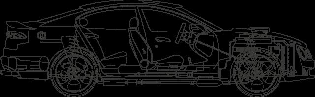 Outiline di una autovettura con componenti principalli